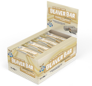 Box of Muscle Moose White Chocolate Beaver Bars
