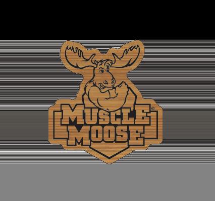 muscle moose bamboo pin badge