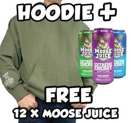 Buy an Extreme Oversized Muscle Moose Hoodie (unisex) and get a FREE case of Moose Juice